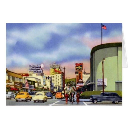 Puesta del sol y vid de Los Ángeles California Tarjeton