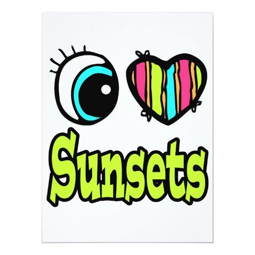 """Puestas del sol brillantes del amor del corazón I Invitación 6.5"""" X 8.75"""""""