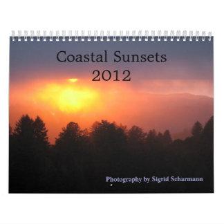 Puestas del sol costeras 2012 calendarios de pared