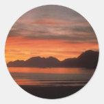 Puestas del sol de la playa pegatina redonda