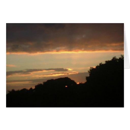 Puestas del sol de mi ventana tarjeta de felicitación