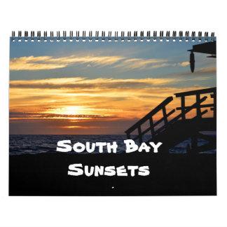 Puestas del sol del sur de la bahía calendario de pared