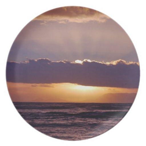 Puestas del sol en el cabo Suráfrica Plato