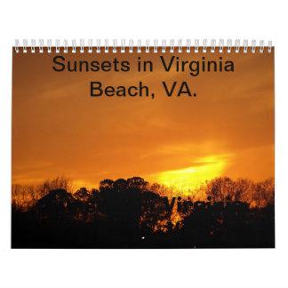 Puestas del sol en Virginia Beach, calendario del