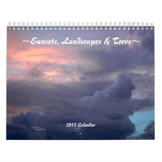 Puestas del sol, paisajes, calendario de los