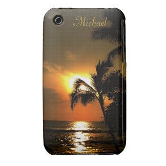 Puestas del sol tropicales personalizadas de la pl Case-Mate iPhone 3 cobertura
