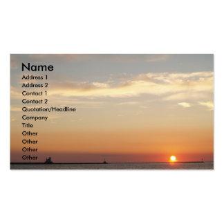 Puestas del sol, veleros y faro tarjetas de visita