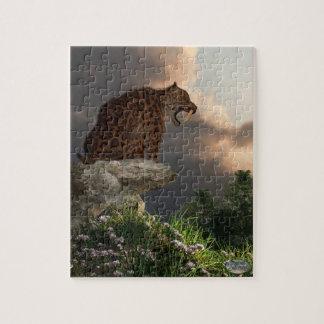 Puesto de observación de Smilodon Californicus Rompecabeza Con Fotos
