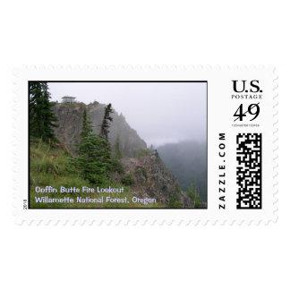 Puesto de observación del fuego de la mota del sellos postales