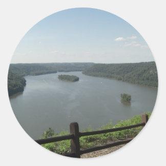 Puesto de observación del punto del pináculo pegatinas redondas