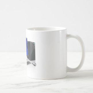 Puesto de trabajo del ordenador del PC de sobremes Tazas De Café