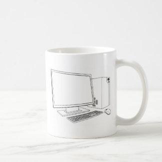 Puesto de trabajo del ordenador del PC de sobremes Taza De Café