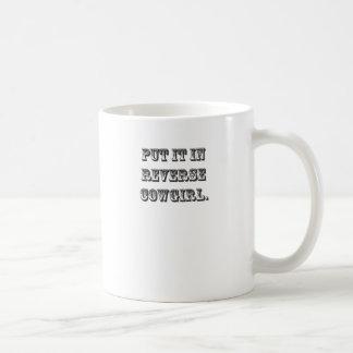 Puesto le en vaquera reversa taza de café