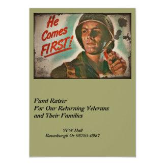 """Puesto lo primeras raciones de la comida de WWII Invitación 5"""" X 7"""""""