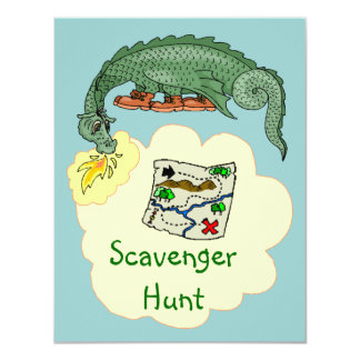 "Puff Dragon & Scavenger Hunt Map Invitations 4.25"" X 5.5"" Invitation Card"