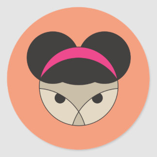 Puff haired character female on colored background classic round sticker
