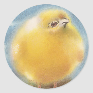 Puffball Chick Vintage Easter Classic Round Sticker