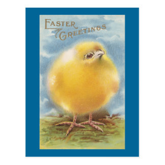 Puffball Chick Vintage Easter Postcard