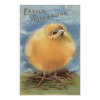 Puffball Fluffy Easter Chick Poster