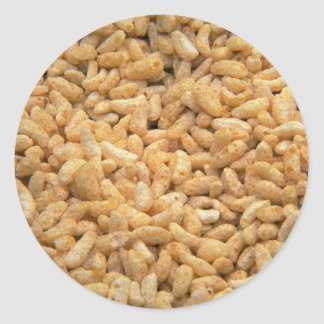 Puffed grain made from rice round sticker