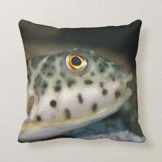 puffer fish facing right yellow eye.jpg throw pillow