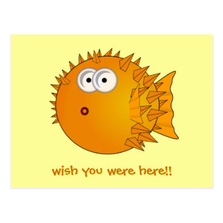 Puffer fish - funny sayings postcard