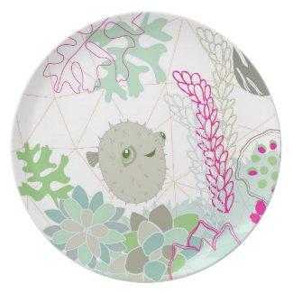 Puffer Fish Melamine Plate