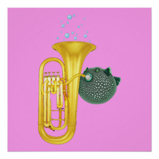 Puffer Fish Playing Tuba Poster