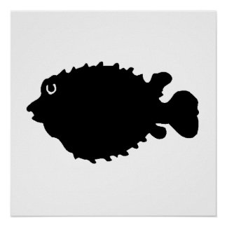 Puffer Fish Silhouette Poster