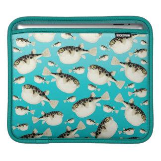 Puffer fish teal pattern iPad sleeve