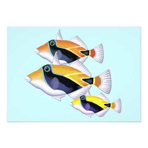 Puffer Fish Trio Custom Invitations
