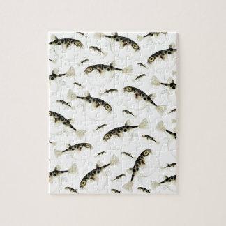 Puffer Fish White Pattern Jigsaw Puzzle
