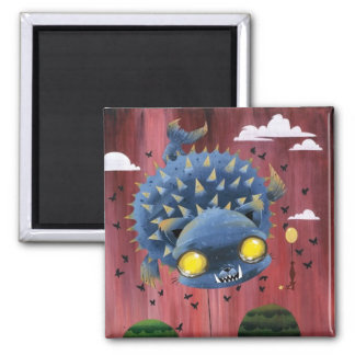 Puffer Puss 2 Inch Square Magnet