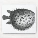 Pufferfish retros del ejemplo del vintage tapete de ratones
