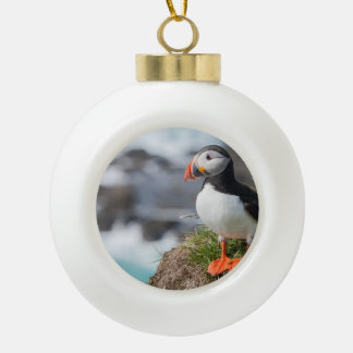 Puffin Ceramic Ball Christmas Ornament