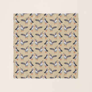 Puffin Frenzy Chiffon Scarf (Gold)