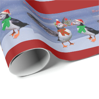 Puffin Frenzy Wrapping Paper - Christmas
