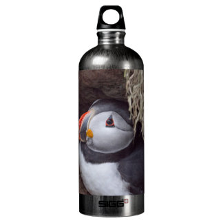 Puffin in a Burrow Water Bottle