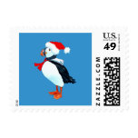 Puffin Postage Stamp (on blue)