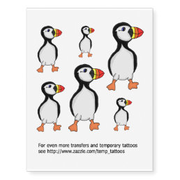 Puffin transfers and temporary tattoos
