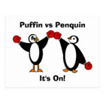 Puffin vs Penquin Postcard