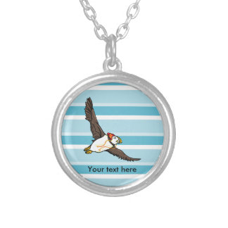 Puffin Wearing A Woolly Hat Round Pendant Necklace