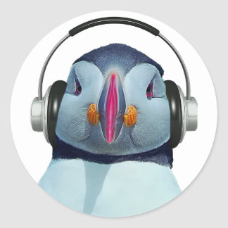 Puffin with headphones classic round sticker