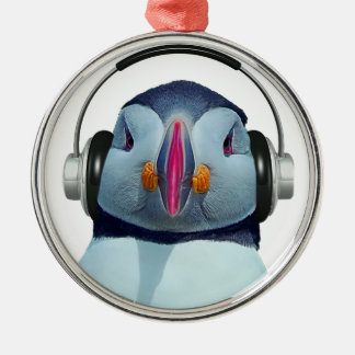 Puffin with headphones metal ornament