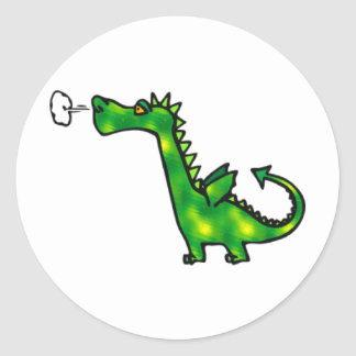 Puffing Little Dragon Round Stickers