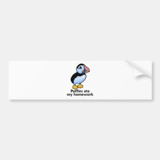 Puffins Ate my Homework Bumper Sticker