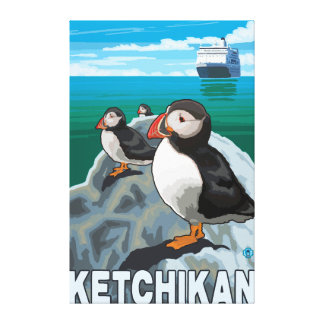 Puffins & Cruise Ship - Ketchikan, Alaska Canvas Print