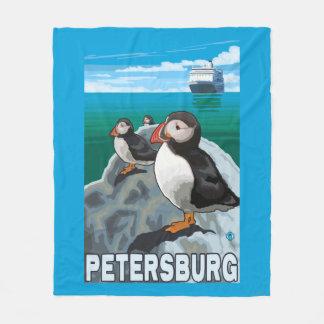 Puffins & Cruise Ship - Petersburg, Alaska Fleece Blanket