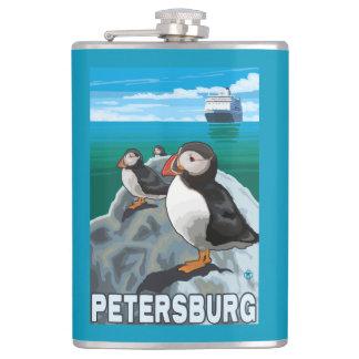 Puffins & Cruise Ship - Petersburg, Alaska Hip Flask