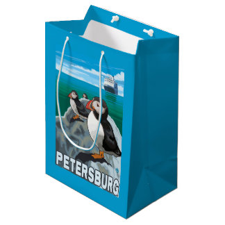 Puffins & Cruise Ship - Petersburg, Alaska Medium Gift Bag